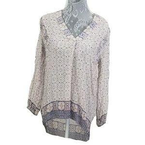 VINCE. Silk bishop sleeve boho blouse top